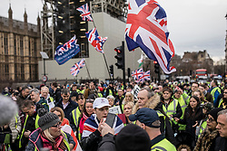 "© Licensed to London News Pictures. 12/01/2019. London, UK. Pro-Brexit ""yellow vest"" protesters block Westminster Bridge in London. James Goddard, who was involved in an incident with Conservative MP Anna Soubry, was arrested by police this morning. Photo credit: Rob Pinney/LNP"