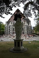 The damaged Rose Historic Chapel in Christchurch City Centre after a Powerful earth quack ripped through Christchurch, New Zealand on Tuesday lunch time killing at least 65 people as it brought down buildings, buckled roads and damaged churches and the Cities Cathedral. Photo Tim Clayton