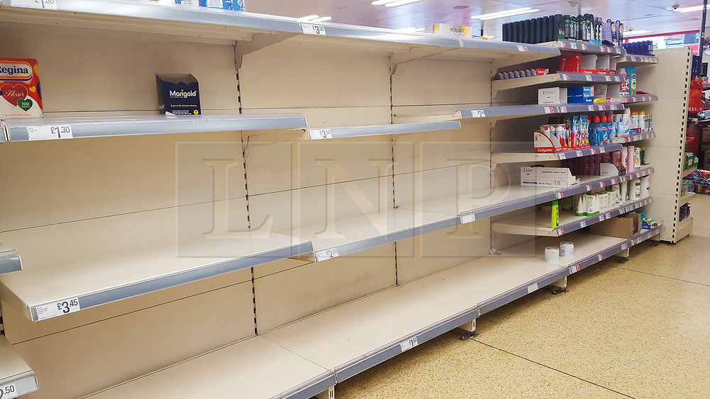 © Licensed to London News Pictures. 12/03/2020. London, UK. Iceland store in London runs out of toilet rolls amid an increased number of cases of Coronavirus (COVID-19) in the UK. 590 cases have been tested positive and ten patients have died from the virus in the UK. Photo credit: Dinendra Haria/LNP