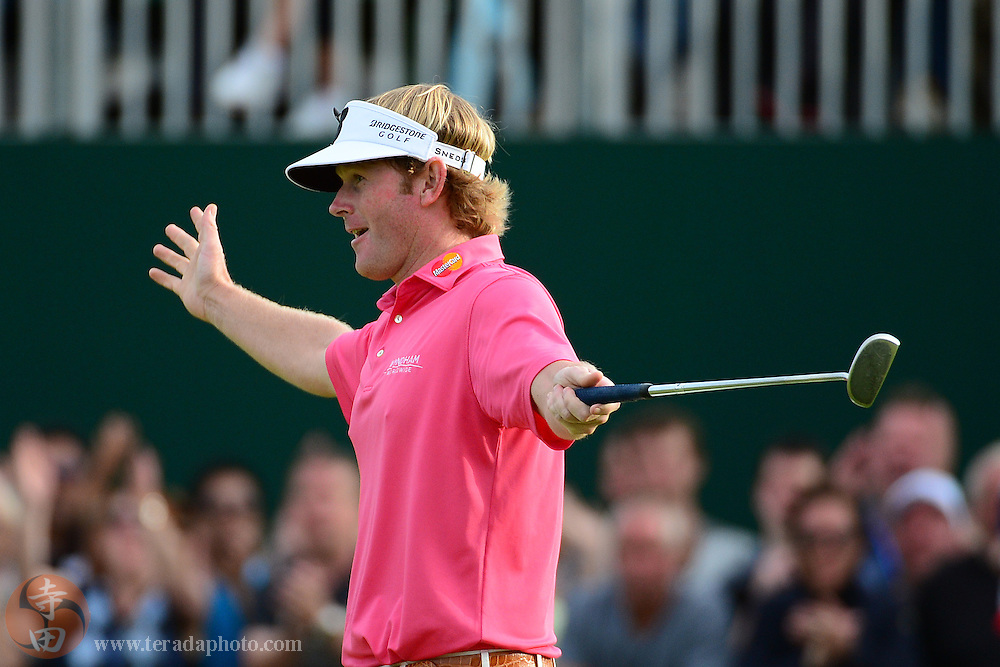 July 21, 2012; St. Annes, ENGLAND; Brandt Snedeker celebrates after making a putt on the 18th hole during the third round of the 2012 British Open Championship at Royal Lytham & St. Annes Golf Club.