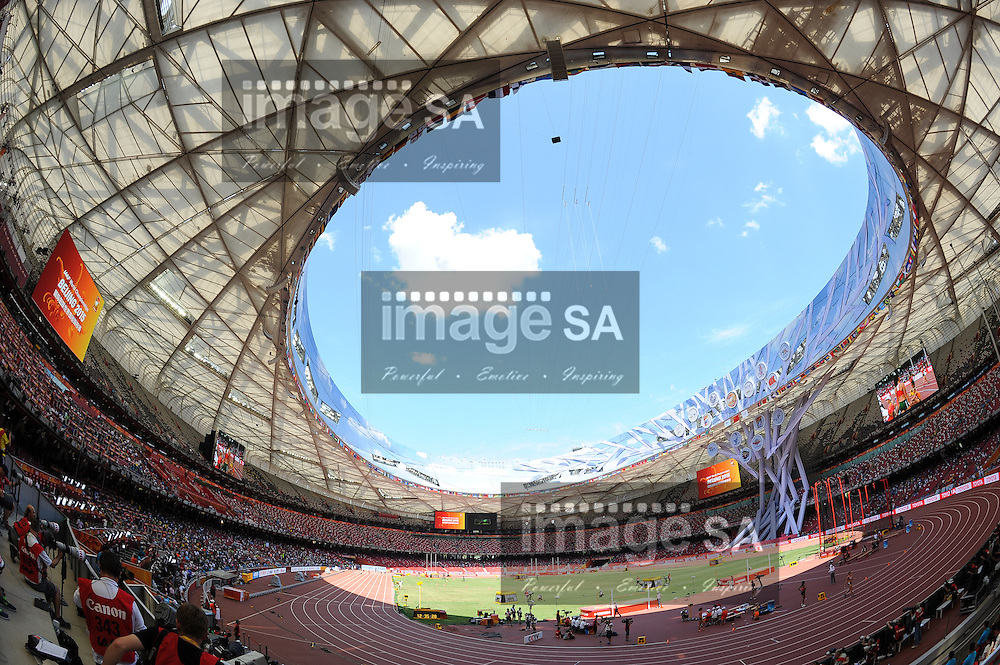 BEIJING, CHINA - AUGUST 22: a fish eye view inside the Bird's Nest during day 1 of the 2015 IAAF World Championships at National Stadium on August 22, 2015 in Beijing, China. (Photo by Roger Sedres/Gallo Images)