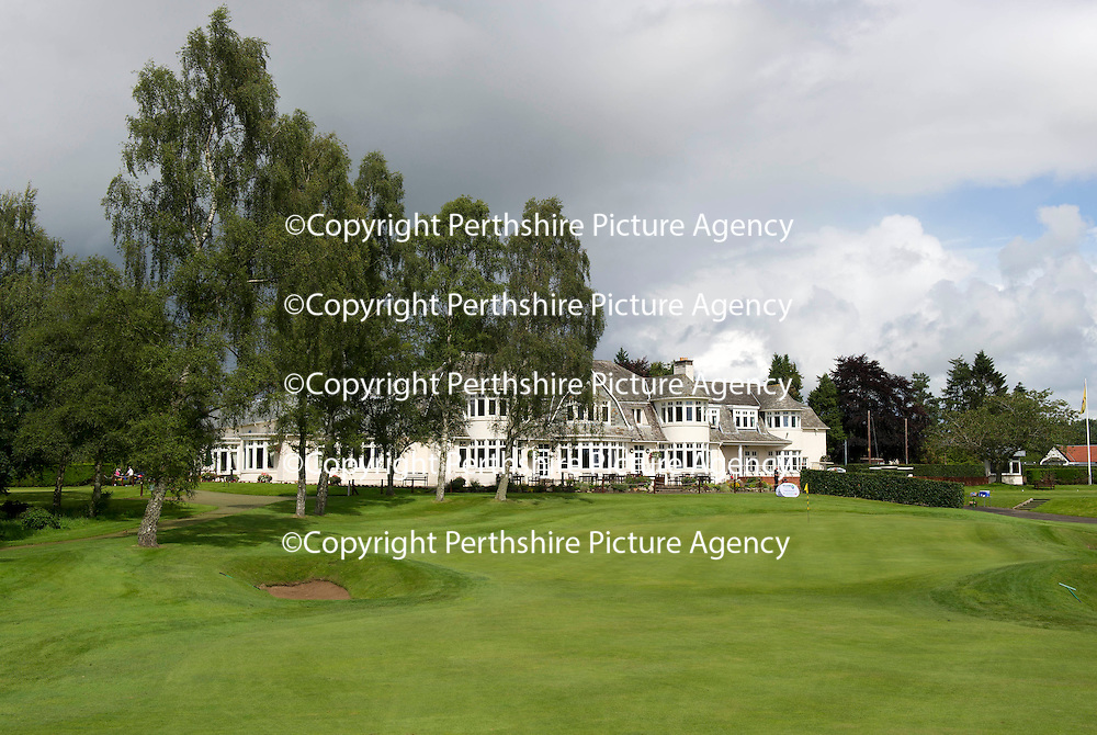 The 18th green and clubhouse at Blairgowrie Golf Club..<br /> Picture by Graeme Hart.<br /> Copyright Perthshire Picture Agency<br /> Tel: 01738 623350  Mobile: 07990 594431