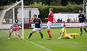 Dundee&rsquo;s Paul McGowan celebrates after scoring his side's second goal - Brechin City v Dundee pre-season friendly at Glebe Park, Brechin, Photo: David Young<br /> <br />  - &copy; David Young - www.davidyoungphoto.co.uk - email: davidyoungphoto@gmail.com