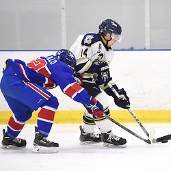 TORONTO, ON - Nov 29, 2015 : Ontario Junior Hockey League game action between Toronto Patriots and Toronto Jr. Canadiens, Logan Blaser #14 of the Toronto Patriots battles for control with Lucas Colalillo #92 of the Toronto Jr. Canadiens during the first period.<br /> (Photo by Andy Corneau / OJHL Images)