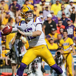 Oct 14, 2017; Baton Rouge, LA, USA; LSU Tigers quarterback Danny Etling (16) against the Auburn Tigers during the first quarter of a game at Tiger Stadium. Mandatory Credit: Derick E. Hingle-USA TODAY Sports