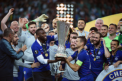 BAKU, May 30, 2019  Players of Chelsea celebrate with the trophy after the UEFA Europa League final match between Chelsea and Arsenal in Baku, Azerbaijan, May 29, 2019. Chelsea won 4-1. (Credit Image: © Tofik Babayev/Xinhua via ZUMA Wire)