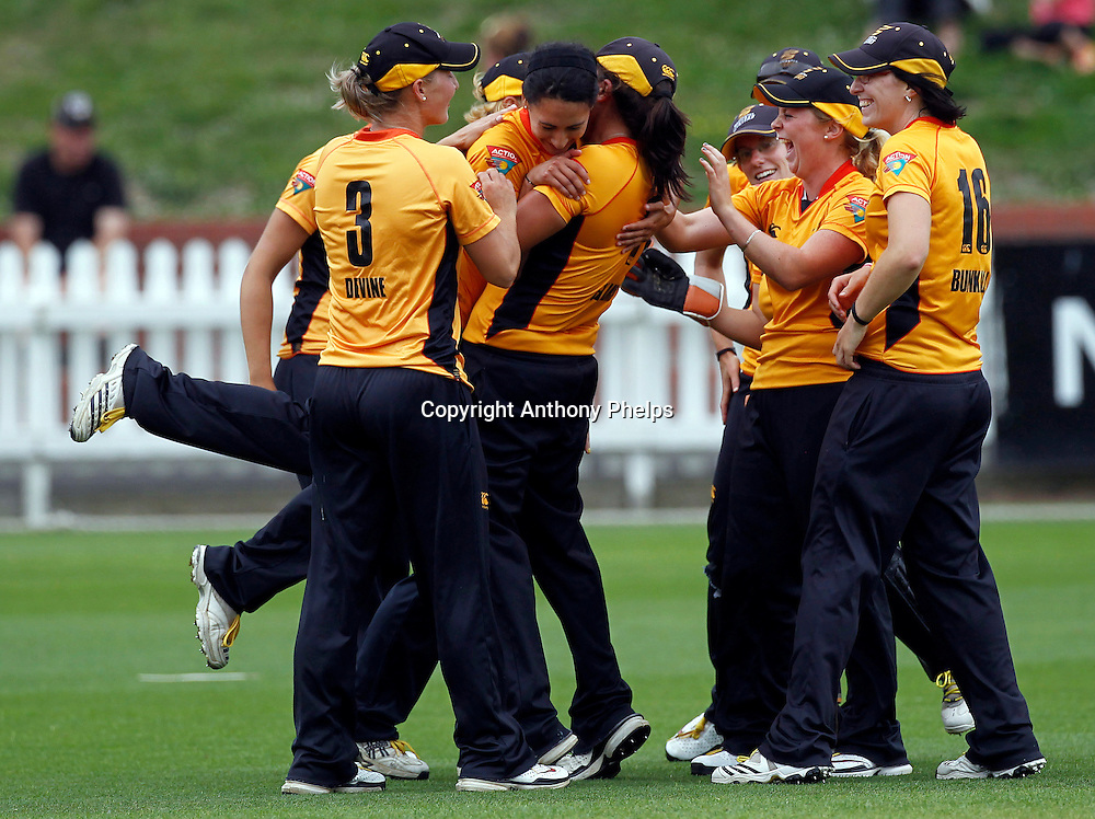 Wellington Blaze celebrate a wicket, Action Cricket Twenty20 Final, Blaze v Magicians. Basin Reserve, Wellington. Saturday 5 February 2011. Photo: Anthony Phelps/PHOTOSPORT