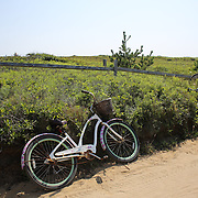 Bikes parked up at Cisco Beach, Nantucket, Nantucket Island, Massachusetts, USA. Photo Tim Clayton