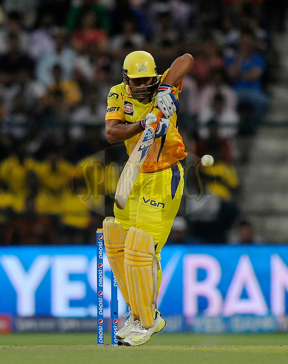 MS Dhoni captain of The Chennai Superkings bats during match 8 of the Pepsi Indian Premier League 2014 between the Chennai Superkings and The Delhi Daredevils held at the Zayed Cricket Stadium, Sharjah, United Arab Emirates on the 21st April 2014<br /> <br /> Photo by Pal Pillai / IPL / SPORTZPICS