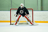 PENTICTON, CANADA - SEPTEMBER 8: Tyler Parsons #82 of Calgary Flames defends the net during  morning practice on September 8, 2017 at the South Okanagan Event Centre in Penticton, British Columbia, Canada.  (Photo by Marissa Baecker/Shoot the Breeze)  *** Local Caption ***