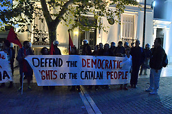 October 3, 2017 - Athens, Greece - Greek leftists demonstrate in Athens in support of the referendum in Catalonia and agianst the attack by the Spanish riot Police during the voting in Catalonia. (Credit Image: © George Panagakis/Pacific Press via ZUMA Wire)