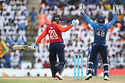 Jason Roy & Niroshan Dickwella, (wicket Keeper) LBW call during the One Day International match between Sri Lanka and England at Pallekele International Cricket Stadium, Pallekele, Sri Lanka on 20 October 2018.
