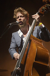 Ted Dwane of Mumford & Sons headline the main stage on Friday night..Rockness 2012..©Michael Schofield..