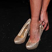 NLD/Amsterdam/20110214 - Onthulling nieuwe pump Chick Shoes ism I Love Fashion News, Sylvia Geersen past haar nieuwe schoenen