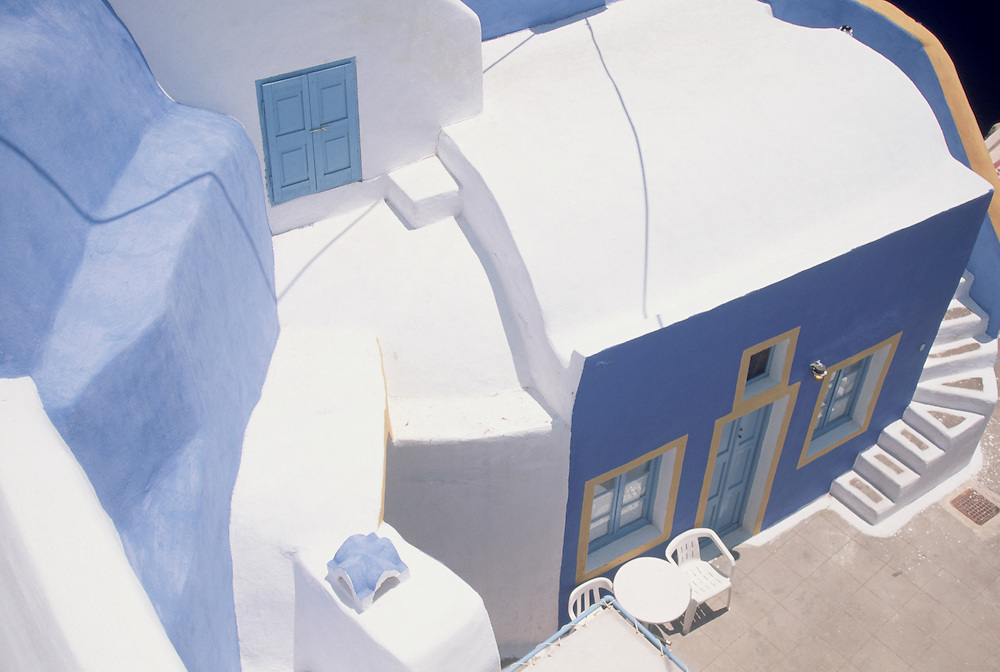 Painted house in village of Oia, Island of Santorini , Greece