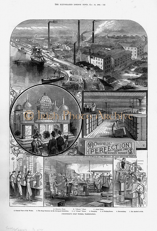 Joseph Crosfield & Son's soap factory at Bank Quarry, Warrington. A: Glycerine Plant B: Silicate Plant C: Alkali Plant 1: General view of works 2: Display at Liverpool Exhibition  3: Frame Room  4: Stamping  5: Packaging Room  6: Box Making  7: Bar of soap.