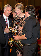 Brussels, 15-10-2014<br /> <br /> King Felipe and Queen Mathilde attend a Autumn Concert at the Palace of Brussels. After the concert the Royals met the saxophone players.<br /> <br /> Photo: Bernard Ruebsamen/Royalportraits Europe