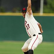15 April 2018: San Diego State pitcher Jorge Fernandez (27) seen here during the fifth inning against Fullerton. The San Diego State baseball team closed out the weekend series against Cal State Fullerton with a 9-6 win at Tony Gwynn Stadium. <br /> More game action at sdsuaztecphotos.com