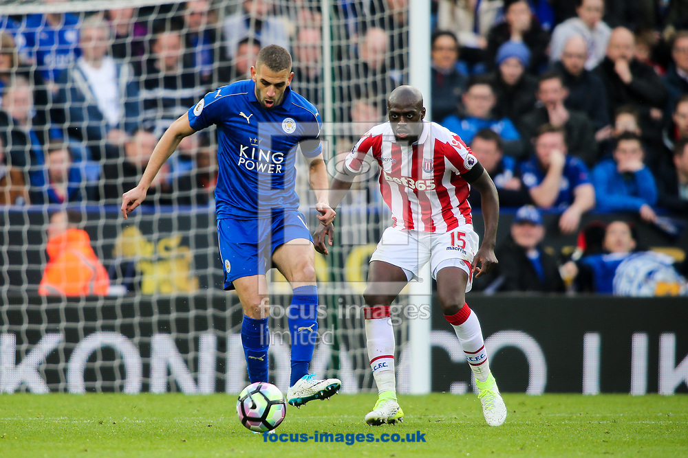 Islam Slimani of Leicester City (left) competing with Bruno Martins Indi of Stoke City (right) during the Premier League match at the King Power Stadium, Leicester<br /> Picture by Andy Kearns/Focus Images Ltd 0781 864 4264<br /> 01/04/2017