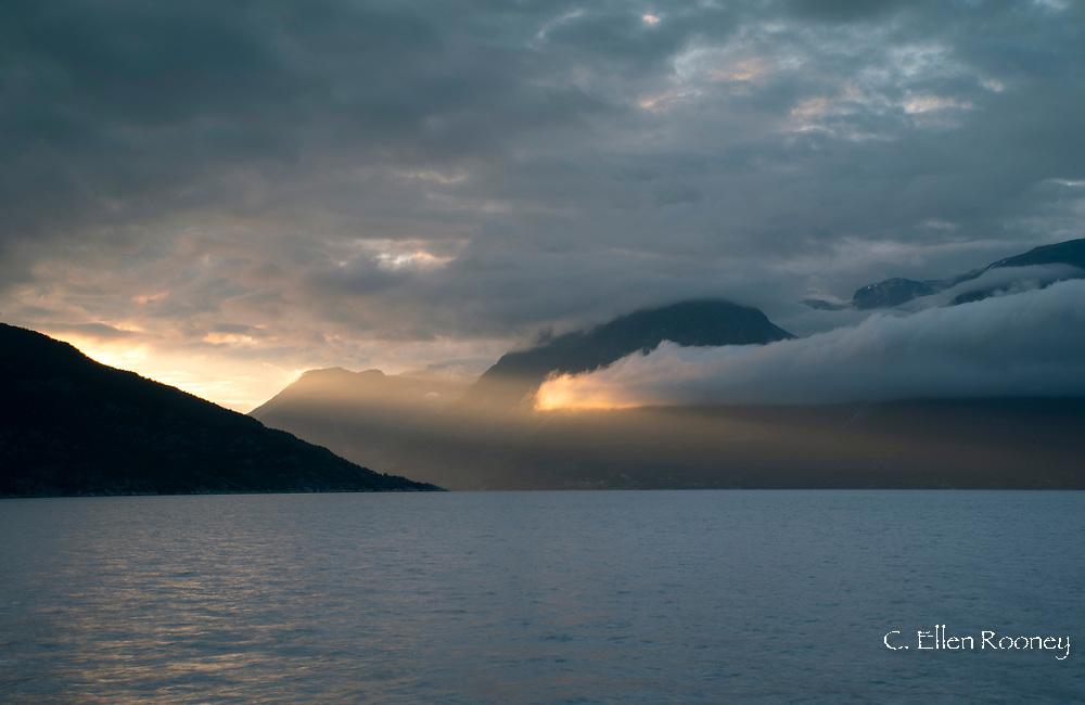 A dramatic sunrise of Hardanger Fjord, Vestlandet, Norway, Europe
