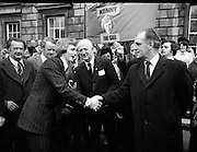 Newly Elected TD Enda Kenny Arrives at The Dail..(J89)..1975..18.11.1975..11.18.1975..18th November 1975..Following the death of his father,Henry Kenny TD, Enda Kenny was proposed by the Fine Gael party to contest the seat. He was duly elected and went to Dublin to take up his seat in Dail Eireann at Leinster House, Dublin..Image shows Enda Kenny being greeted by the Fine Gael party heirarchy on his arrival at Leinster House.