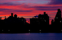 The New York City skyline as seen looking west across the Jacqueline Kennedy Onassis Reservoir in Central Park. April 16, 2009. (Photo by Robert Caplin)