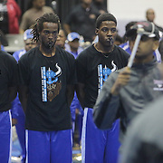 Members of the Elizabeth City State University watch as member of the N.C. Central University band perform Saturday January 19, 2015 during the Historically Black College and University Experience at the Schwartz Center on the Campus of Cape Fear Community College in Wilmington, N.C. (Jason A. Frizzelle)