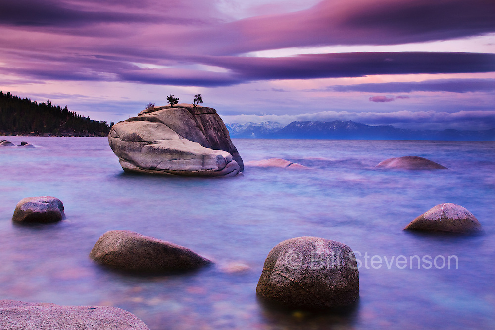 Early morning at Bonsai rock on the east shore of Lake Tahoe in Nevada. A long exposure was used to make the water appear smooth.