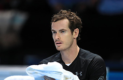Andy Murray sits on his bench after winning the championship during day eight of the Barclays ATP World Tour Finals at The O2, London.