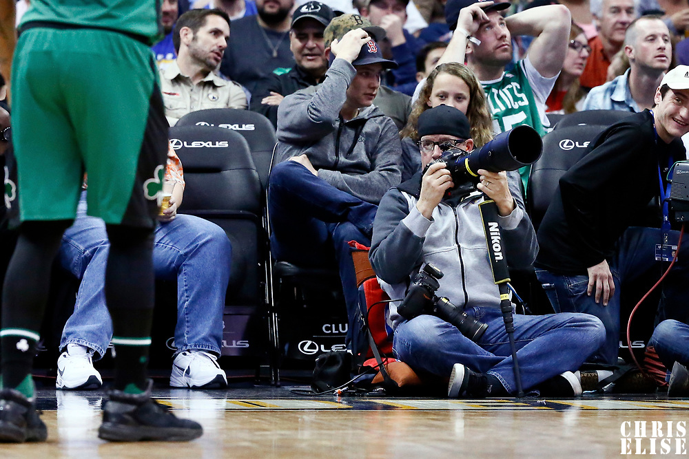 10 March 2017: Denver Nuggets Official Photographer Garrett Ellwood is seen during the Denver Nuggets 119-99 victory over the Boston Celtics, at the Pepsi Center, Denver, Colorado, USA.