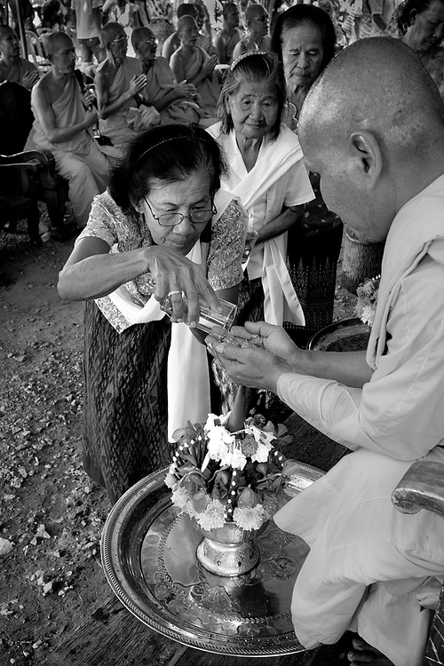Monks receive a water blessing during Songkran 2017 in Nakhon Nayok, Thailand. PHOTO BY LEE CRAKER