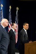 November 26th 2008 - Chicago, IL - Press Conference with newly elected President Barack Obama at the Hilton Hotel in downtown Chicago...Obama announced new Economic Recovery Advisory Board adding former Federal Reserve Chairman Paul Volcker and Austan Goolsbee of the University of Chicago to his team today. ..Photo Credit: Heather A. Lindquist/Sipa..