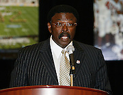 Hampton Pirate head coach Joe Taylor speaks during the 2006 MEAC-SWAC Kickoff Luncheon at the Sheraton Birmingham Hotel in Birmingham, Alabama..  September 01, 2006  (Photo by Mark W. Sutton)