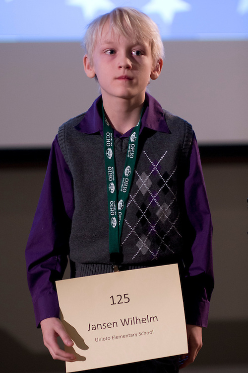 Jansen Wilhelm of Unioto Elementary School introduces himself during the Southeastern Ohio Regional Spelling Bee Regional Saturday, March 16, 2013. The Regional Spelling Bee was sponsored by Ohio University's Scripps College of Communication and held in Margaret M. Walter Hall on OU's main campus.