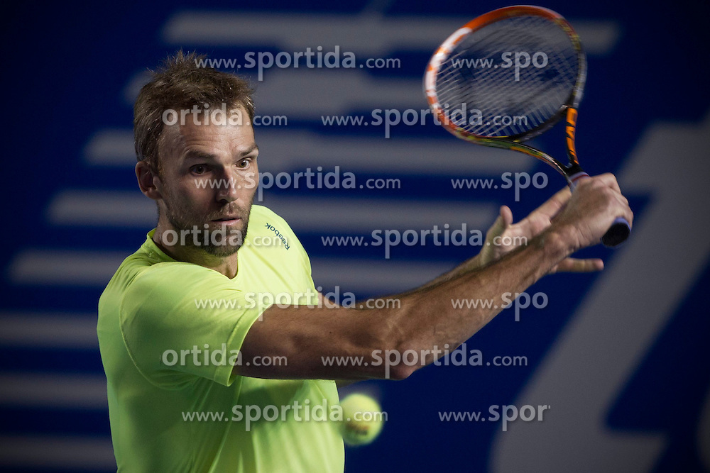 Croatia's Ivo Karlovic returns the ball during the men's singles match against Ryan Harrison of the United States at the Abierto Mexicano Telcel tennis tournament in Acapulco, Guerrero, Mexico, Feb. 26, 2015. Karlovic lost 1-2. EXPA Pictures &copy; 2015, PhotoCredit: EXPA/ Photoshot/ Alejandro Ayala<br /> <br /> *****ATTENTION - for AUT, SLO, CRO, SRB, BIH, MAZ only*****