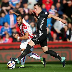 Jese of Stoke City fires a shot at goal under pressure from Phil Jones of Manchester United - Mandatory by-line: Matt McNulty/JMP - 09/09/2017 - FOOTBALL - Bet365 Stadium - Stoke-on-Trent, England - Stoke City v Manchester United - Premier League