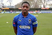 AFC Wimbledon attacker Michael Folivi (41) head and shoulders in home kit during the The FA Cup 5th round match between AFC Wimbledon and Millwall at the Cherry Red Records Stadium, Kingston, England on 16 February 2019.