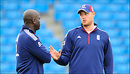 Andrew Freddie Flintoff (right) chats with England bowling coach Ottis Gibson at Headingley on the 16th of July 2008..England v South Africa.Photo by Philip Brown.www.philipbrownphotos.com