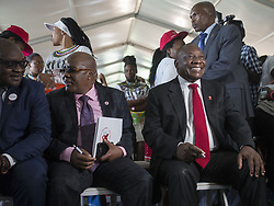 JOHANNESBURG, SOUTH AFRICA - DECEMBER 01 : South African Minister of Health Aaron Motsoaledi (C) and Deputy President of South Africa Cyril Ramaphosa (R) attend an event to raise awareness on World AIDS Day at Sinaba Stadium in Daveyton town Johannesburg, South Africa on December 01, 2016. Ihsaan Haffejee / Anadolu Agency  | BRAA20161201_625 South Africa Afrique du Sud South Africa