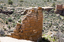 Stronghold House ruins, Hovenweep National Monument, Colorado and Utah.Hovenweep National Monument protects six prehistoric, Puebloan-era villages spread over a twenty-mile expanse of mesa tops and canyons along the Utah-Colorado border. Multi-storied towers perched on canyon rims and balanced on boulders lead visitors to marvel at the skill and motivation of their builders.