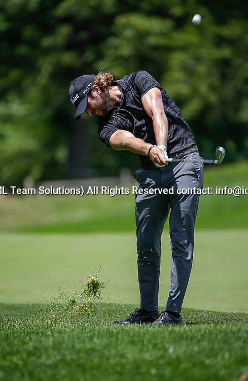 POTOMAC, MD - JULY 01:  Andrew Loupe takes his second shot on the 7th hole during the third round of the Quicken Loans National at TPC Potomac at Avenel Farm in Potomac, MD.(Photo by Justin Cooper/Icon Sportswire)