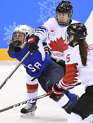 February 22, 2018 - Pyeongchang, South Korea - Canada's JOCELYNE LAROCQUE draws an interference penalty as she takes down USA's EMILY PFALZER in the first period of the Women's Gold Medal Ice Hockey game Thursday, February 22, 2018 at Gangneung Hockey Centre at the Pyeongchang Winter Olympic Games. Photo by Mark Reis, ZUMA Press/The Gazette (Credit Image: © Mark Reis via ZUMA Wire)