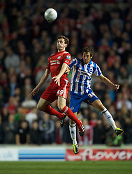 BRIGHTON, ENGLAND - Wednesday, September 21, 2011: Liverpool's Jack Robinson and Brighton & Hove Albion's Will Buckley during the Football League Cup 3rd Round match at the Amex Stadium. (Pic by David Rawcliffe/Propaganda)