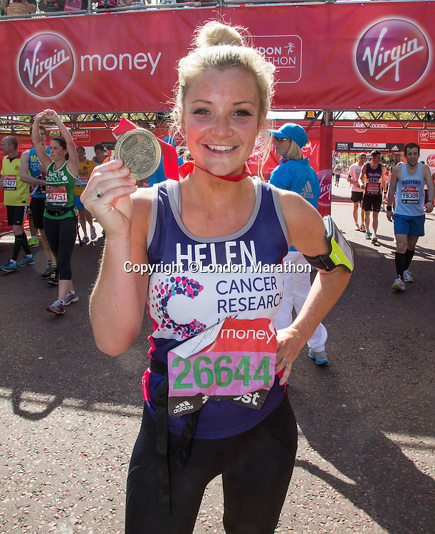 Helen Skelton-Myler, TV presenter Holiday Hit Squad (ex Blue Peter) at the end of the Virgin Money London Marathon 2014 on Sunday 13 April 2014<br /> Photo: Roger Allan/Virgin Money London Marathon<br /> media@london-marathon.co.uk