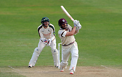 Somerset's Tom Cooper flicks the ball - Photo mandatory by-line: Harry Trump/JMP - Mobile: 07966 386802 - 16/06/15 - SPORT - CRICKET - LVCC County Championship - Division One - Day Three - Somerset v Nottinghamshire - The County Ground, Taunton, England.