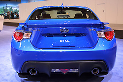 11 February 2016:  Subarau BRZ coupe.<br /> <br /> First staged in 1901, the Chicago Auto Show is the largest auto show in North America and has been held more times than any other auto exposition on the continent.  It has been  presented by the Chicago Automobile Trade Association (CATA) since 1935.  It is held at McCormick Place, Chicago Illinois<br /> #CAS16