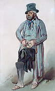 Picture of a man, 1853. Watercolour by Henri Monnier (1805-1877) French cartoonist.