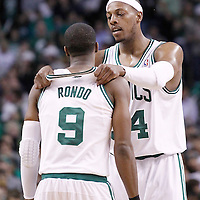21 May 2012: Boston Celtics small forward Paul Pierce (34) talks to Boston Celtics point guard Rajon Rondo (9) during the Boston Celtics 101-85 victory over the Philadelphia Sixer, in Game 5 of the Eastern Conference semifinals playoff series, at the TD Banknorth Garden, Boston, Massachusetts, USA.