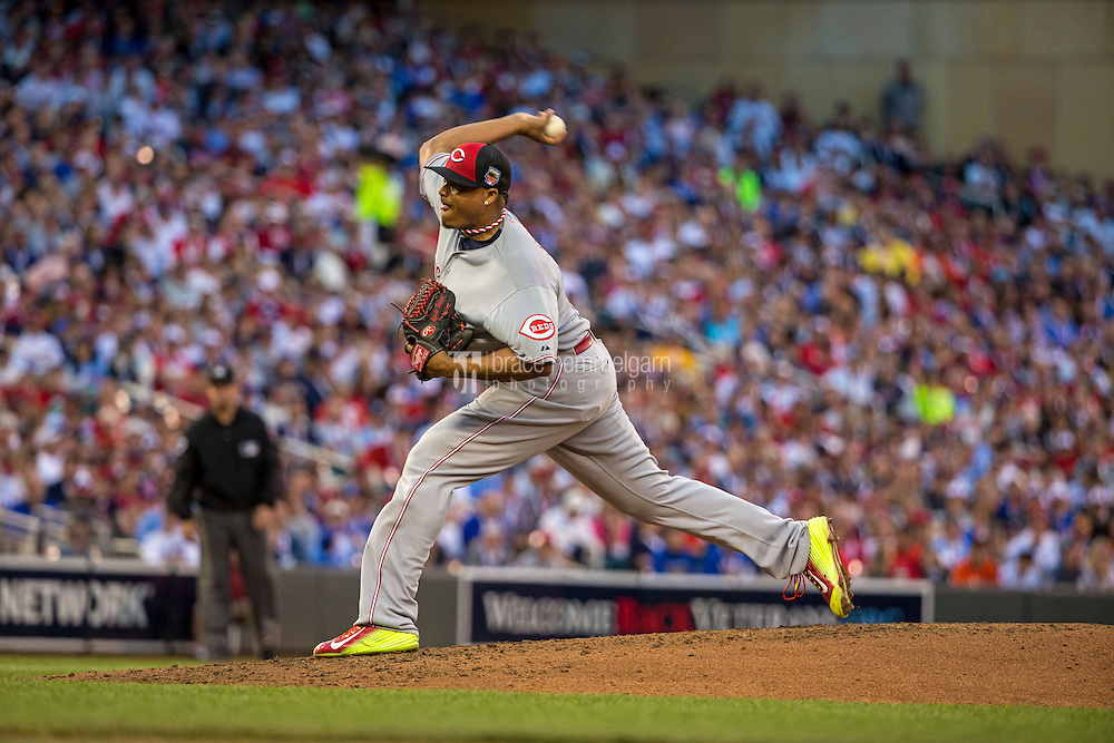 MINNEAPOLIS, MN- JULY 15: National League All-Star Alfredo Simon #31 of the Cincinnati Reds during the 85th MLB All-Star Game at Target Field on July 15, 2014 in Minneapolis, Minnesota. (Photo by Brace Hemmelgarn) *** Local Caption *** Alfredo Simon