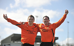 Straide &amp; Foxford United's Chris Downey and Johnny Jordan celebrate their Connaught Sheild win over Charlestown.<br /> Pic Conor McKeown